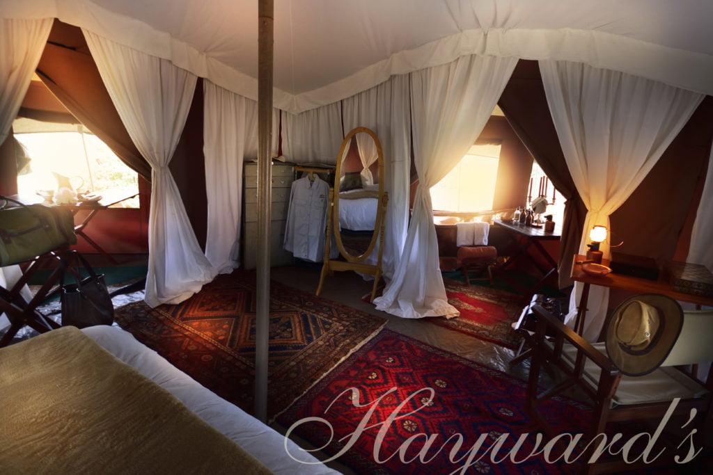 inside a luxury tented mobile safari camp